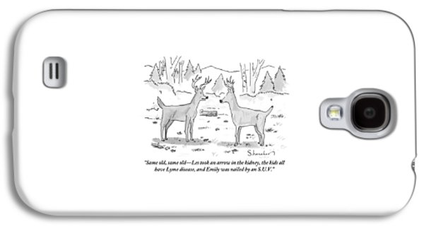 Two Deer In A Forest Are Seen In Conversation Galaxy S4 Case