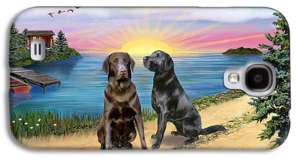 Two Labs At The Lake Galaxy S4 Case