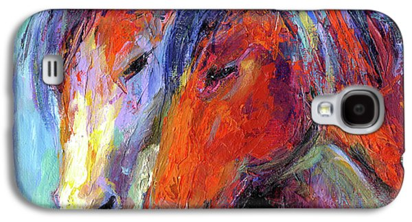 Two Mustang Horses Painting Galaxy S4 Case by Svetlana Novikova