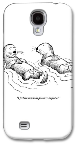 Two Otters Laying On Their Backs. One Is Speaking Galaxy S4 Case