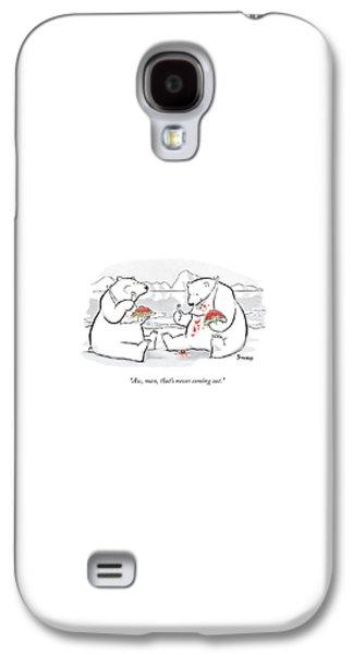 Polar Bear Galaxy S4 Case - Two Polar Bears Eat Spaghetti And Meatballs.  One by Benjamin Schwartz