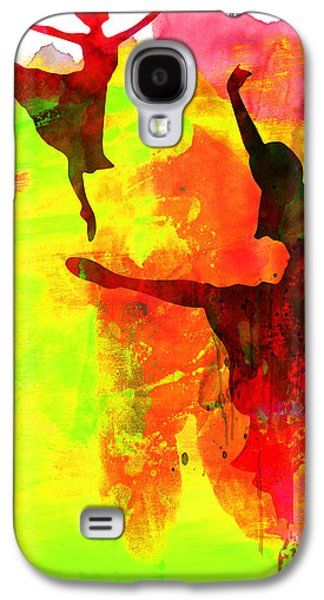 Two Red Ballerinas Watercolor  Galaxy S4 Case by Naxart Studio