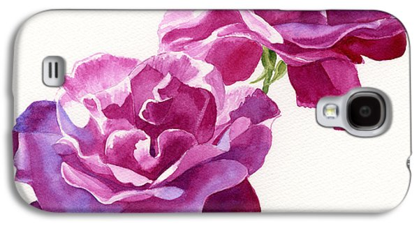 Two Red Violet Rose Blossoms Square Design Galaxy S4 Case by Sharon Freeman