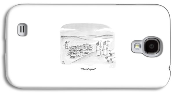 Two Shepherds With Conventional Sheep Look Galaxy S4 Case by Paul Noth