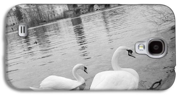 Two Swans In A River, Vltava River Galaxy S4 Case by Panoramic Images