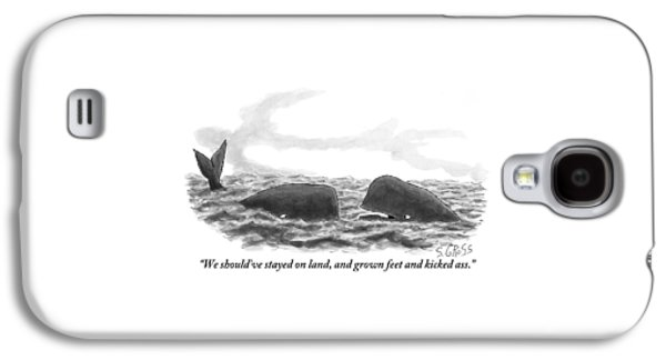 Two Whales Are Seen In Water In Conversation Galaxy S4 Case by Sam Gross