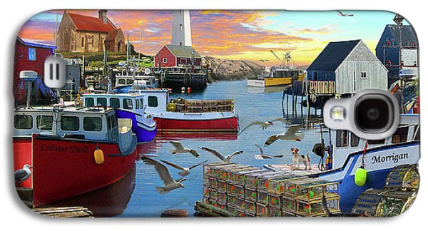 Galaxy S4 Case featuring the drawing Uk Boat Cove by David M ( Maclean )