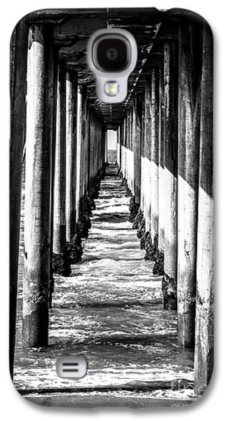 Under Huntington Beach Pier Black And White Picture Galaxy S4 Case by Paul Velgos