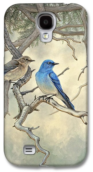 Bluebird Galaxy S4 Case - Under The Old Juniper-mountain Bluebirds by Paul Krapf
