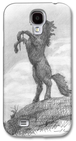 Unicorn Statue Pencil Portrait Galaxy S4 Case by Mike Theuer