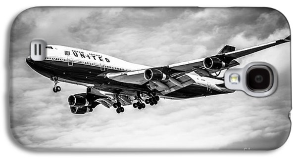 United Airlines Airplane In Black And White Galaxy S4 Case by Paul Velgos