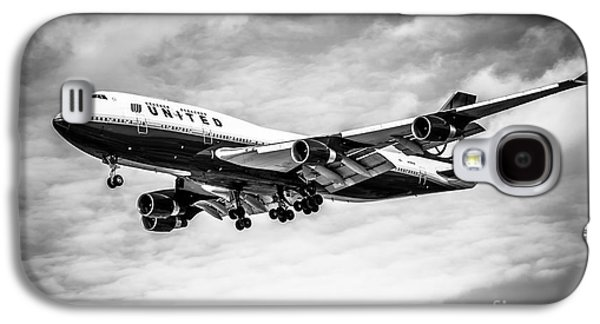 Airplane Galaxy S4 Case - United Airlines Airplane In Black And White by Paul Velgos