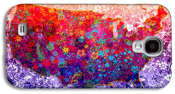 United States Floral Map 2 Galaxy S4 Case