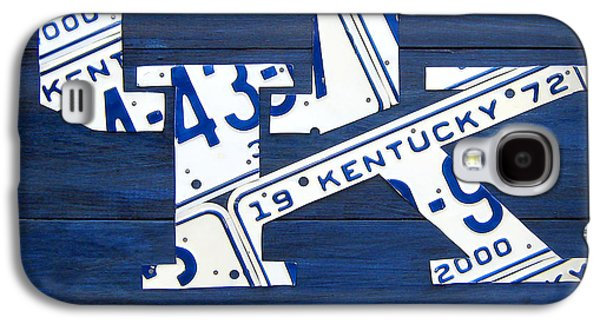 University Of Kentucky Wildcats Sports Team Retro Logo Recycled Vintage Bluegrass State License Plate Art Galaxy S4 Case by Design Turnpike