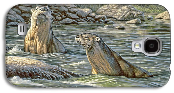 Otter Galaxy S4 Case - Up For Air - River Otters by Paul Krapf