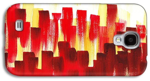 Galaxy S4 Case featuring the painting Urban Abstract Red City Lights by Irina Sztukowski