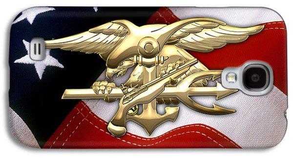 U. S. Navy S E A Ls Emblem Over American Flag Galaxy S4 Case by Serge Averbukh