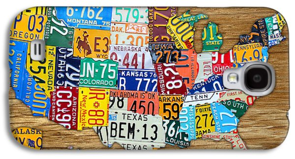 Usa License Plate Map Car Number Tag Art On Light Brown Stained Board Galaxy S4 Case