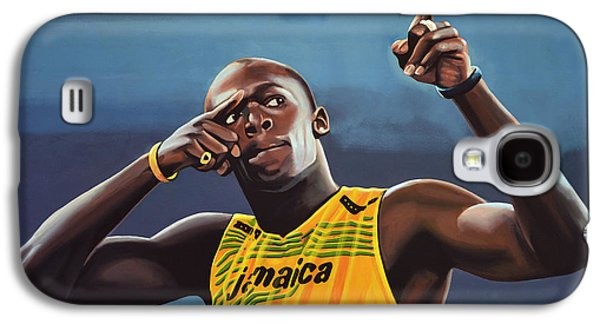 Usain Bolt Painting Galaxy S4 Case by Paul Meijering