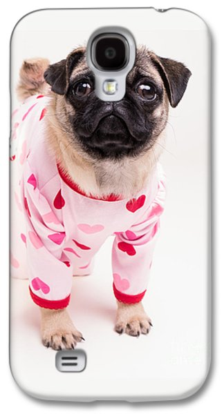 Valentine's Day - Adorable Pug Puppy In Pajamas Galaxy S4 Case by Edward Fielding