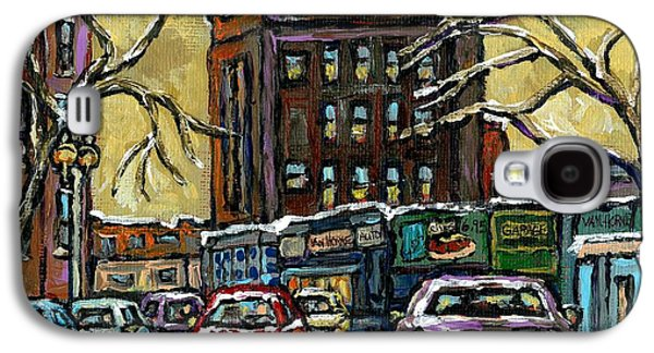 Van Horne Corner Ave Du Parc On The Road Again Montreal Cars In January City Life Paintings Cspandau Galaxy S4 Case by Carole Spandau