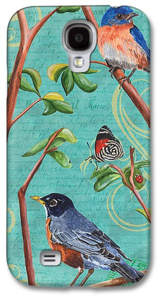 Bluebird Galaxy S4 Case - Verdigris Songbirds 1 by Debbie DeWitt