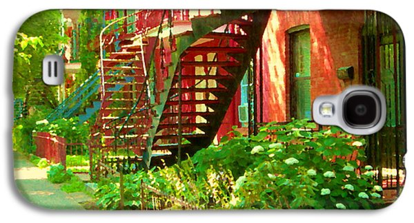 Verdun Stairs Winding Staircases And Fenced Flower Garden Montreal Summer Scene Carole Spandau Galaxy S4 Case by Carole Spandau