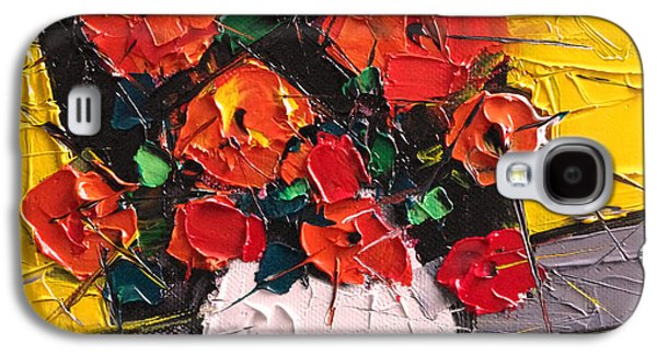 Vermilion Flowers On Black Square Galaxy S4 Case by Mona Edulesco