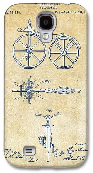 Vintage 1866 Velocipede Bicycle Patent Artwork Galaxy S4 Case