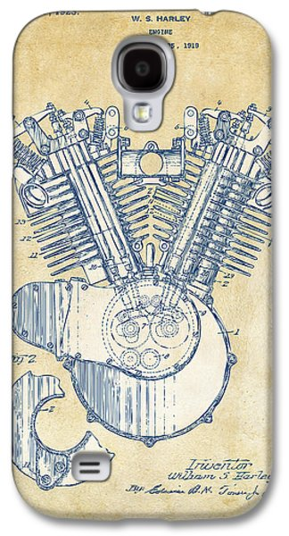 Vintage 1923 Harley Engine Patent Artwork Galaxy S4 Case by Nikki Marie Smith