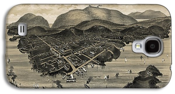 Vintage Bar Harbor Map Galaxy S4 Case by Charles Jorgensen
