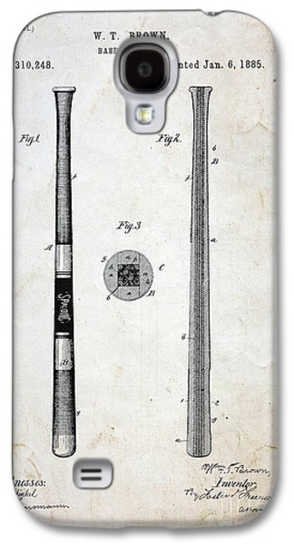 Vintage Baseball Bat Patent Galaxy S4 Case by Paul Ward