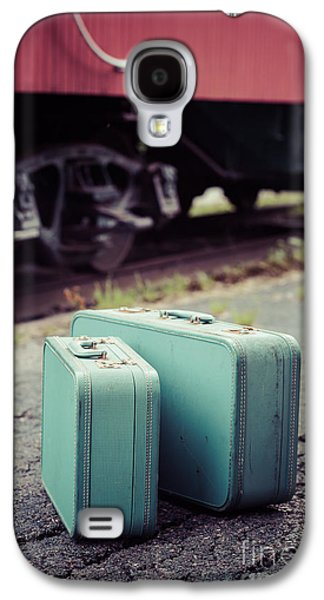 Vintage Blue Suitcases With Red Caboose Galaxy S4 Case by Edward Fielding