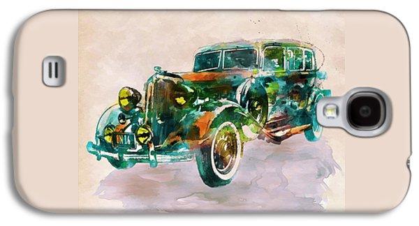 Vintage Car In Watercolor Galaxy S4 Case by Marian Voicu