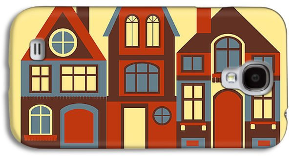 Town Galaxy S4 Case - Vintage City Houses On Yellow Background by Okhristy