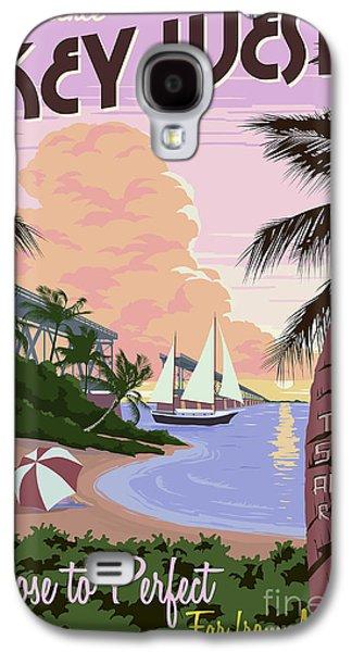 Travel Galaxy S4 Case - Vintage Key West Travel Poster by Jon Neidert