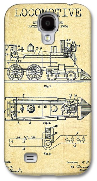 Train Galaxy S4 Case - Vintage Locomotive Patent From 1904 - Vintage by Aged Pixel