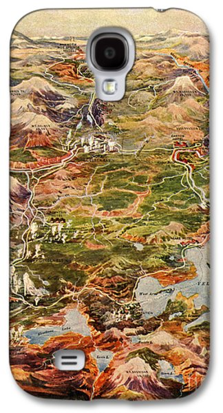 Vintage Map Of Yellowstone National Park Galaxy S4 Case by Edward Fielding