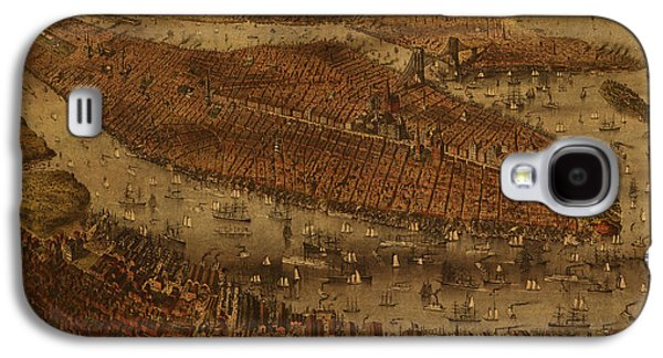 Vintage New York City Manhattan Nyc In 1875 City Map On Worn Canvas Galaxy S4 Case