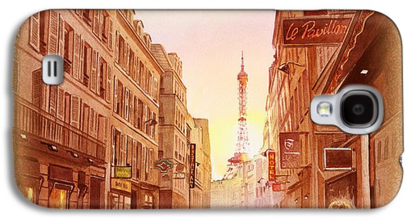Galaxy S4 Case featuring the painting Vintage Paris Street Eiffel Tower View by Irina Sztukowski