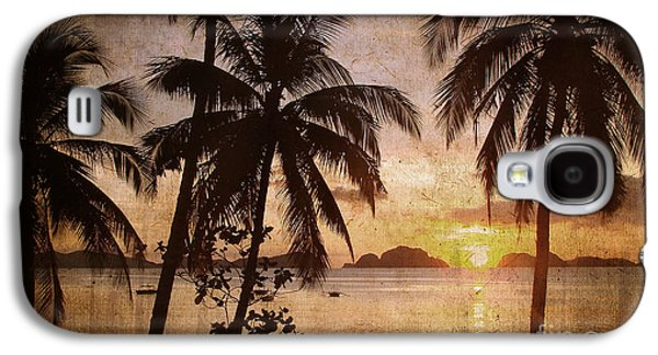 Beach Sunset Galaxy S4 Case - Vintage Philippines by Delphimages Photo Creations