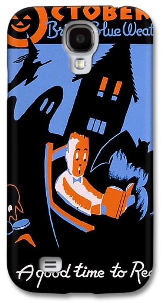 Vintage Poster - Reading - October Galaxy S4 Case by Benjamin Yeager