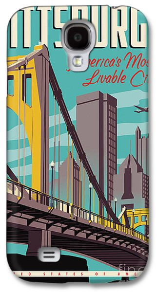 City Scenes Galaxy S4 Case - Pittsburgh Poster - Vintage Travel Bridges by Jim Zahniser
