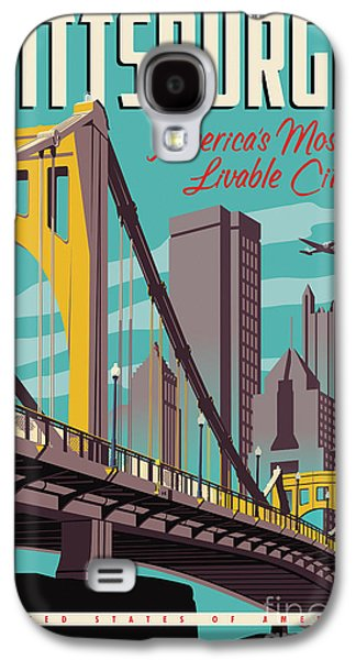 City Scenes Galaxy S4 Case - Pittsburgh Poster - Vintage Travel Bridges by Jim Zahniser
