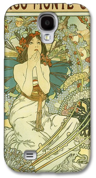 Vintage Travel Poster For Monaco Monte Carlo Galaxy S4 Case by Alphonse Marie Mucha