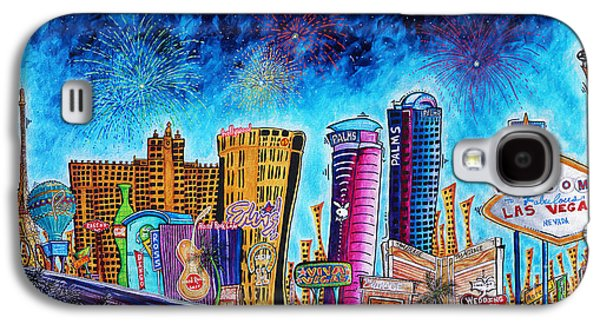 Viva Las Vegas A Fun And Funky Pop Art Painting Of The Vegas Skyline And Sign By Megan Duncanson Galaxy S4 Case