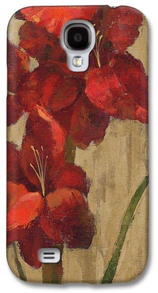 Vivid Red Gladiola On Gold Galaxy S4 Case
