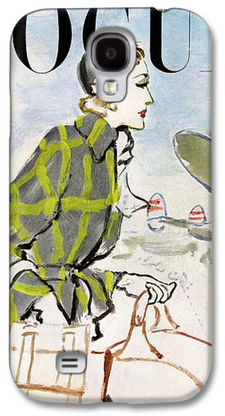 Vogue Cover Featuring A Woman Carrying Luggage Galaxy S4 Case by Carl Eric Erickson