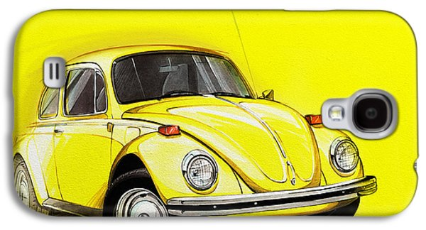 Volkswagen Beetle Vw Yellow Galaxy S4 Case by Etienne Carignan