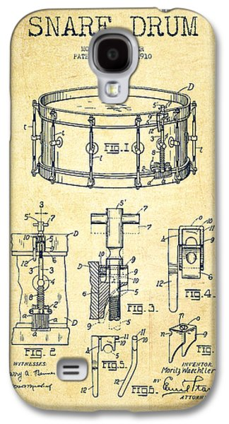 Drum Galaxy S4 Case - Waechtler Snare Drum Patent Drawing From 1910 - Vintage by Aged Pixel